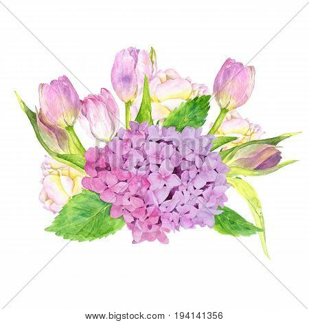 watercolor flowers composition drawing at white paper background, bouqet with hydrangea, roses and pink tulips