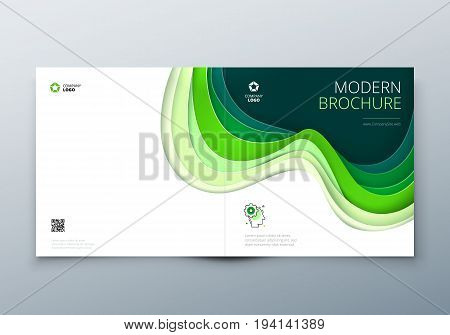 Square brochure design Rectangle Paper carve abstract cover for brochure flyer magazine or catalog design Brochure in teal green colors for eco nature health medical concept