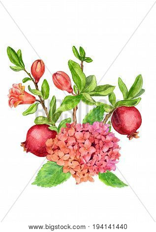 watercolor flowers composition drawing at white paper background, bouqet with hydrangea and pomegranate branches