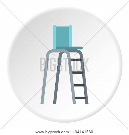Tennis tower for judges icon in flat circle isolated vector illustration for web