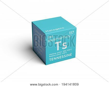 Tennessine. Halogens. Chemical Element of Mendeleev's Periodic Table. Tennessine in square cube creative concept.