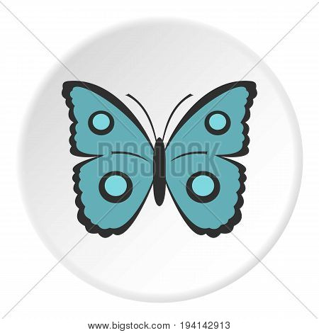 Butterfly with circles on wings icon in flat circle isolated vector illustration for web