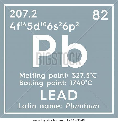 Lead. Plumbum. Post-transition metals. Chemical Element of Mendeleev's Periodic Table. Lead in square cube creative concept.