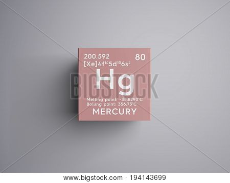 Mercury. Transition metals. Chemical Element of Mendeleev's Periodic Table. Mercury in square cube creative concept.