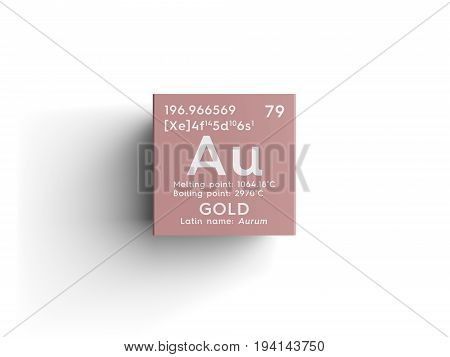 Gold. Aurum. Transition metals. Chemical Element of Mendeleev's Periodic Table. Gold in square cube creative concept.