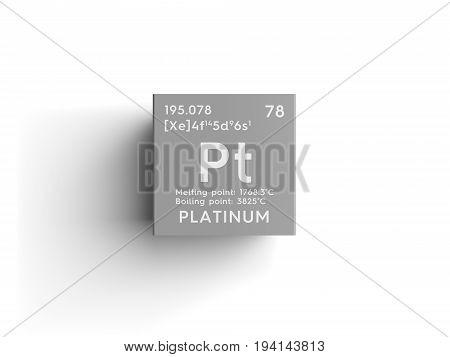 Platinum. Transition metals. Chemical Element of Mendeleev's Periodic Table. Platinum in square cube creative concept.