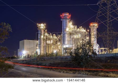 Thermal power plant view at night time
