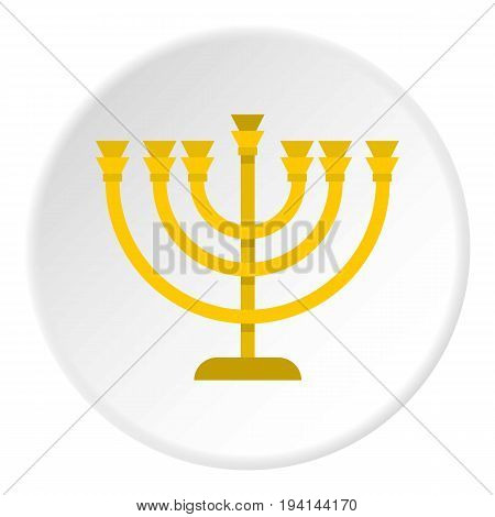 Jewish Menorah with candles icon in flat circle isolated vector illustration for web