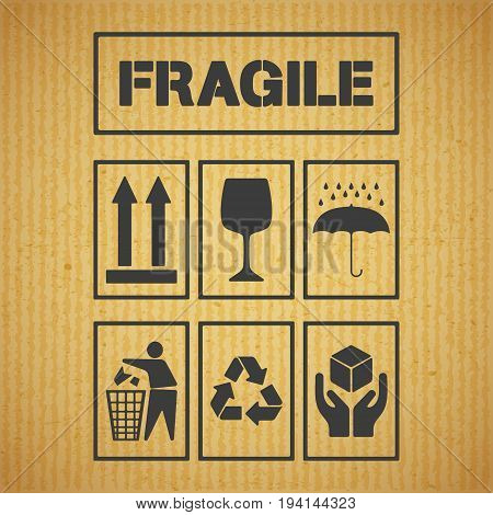 Set of package handling labels on cardboard background. Icon fragile, this side up, glass, keep dry, keep clean, recycling, handle with care symbol. Vector illustration.