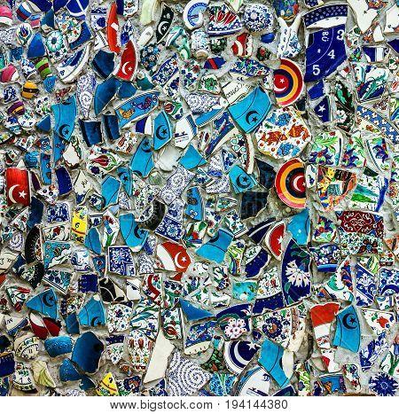 Broken glass debris background design of street wall in Istanbul, Turkey