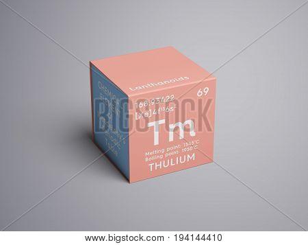 Thulium. Lanthanoids. Chemical Element of Mendeleev's Periodic Table. Thulium in square cube creative concept.