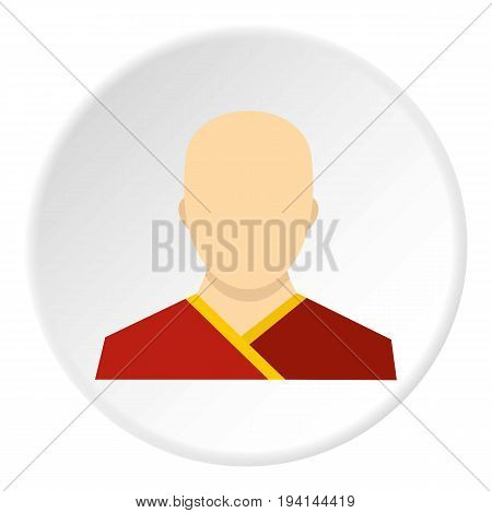 Buddhist monk icon in flat circle isolated vector illustration for web