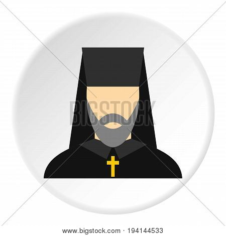 Orthodox priest icon in flat circle isolated vector illustration for web
