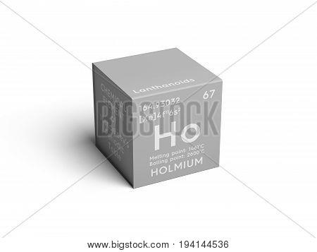 Holmium. Lanthanoids. Chemical Element of Mendeleev's Periodic Table. Holmium in square cube creative concept.