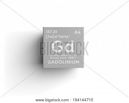Gadolinium. Lanthanoids. Chemical Element of Mendeleev's Periodic Table. Gadolinium in square cube creative concept.