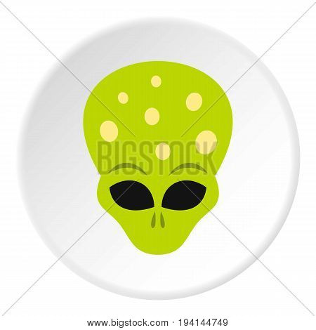 Alien icon in flat circle isolated vector illustration for web