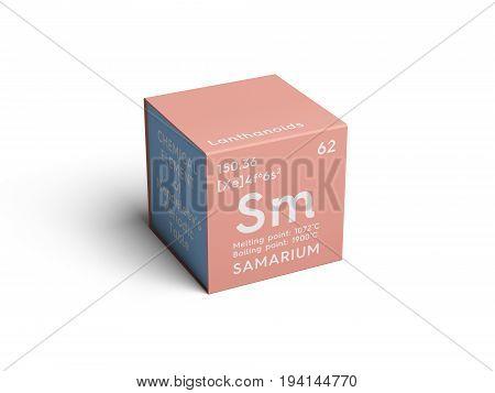 Samarium. Lanthanoids. Chemical Element of Mendeleev's Periodic Table. Samarium in square cube creative concept.