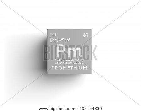 Promethium. Lanthanoids. Chemical Element of Mendeleev's Periodic Table. Promethium in square cube creative concept.