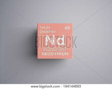 Neodymium. Lanthanoids. Chemical Element of Mendeleev's Periodic Table. Neodymium in square cube creative concept.
