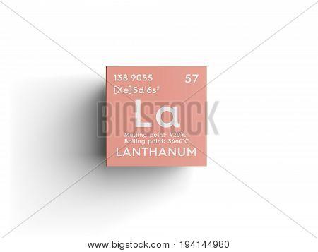 Lanthanum. Lanthanoids.  Chemical Element of Mendeleev's Periodic Table. Lanthanum in square cube creative concept.