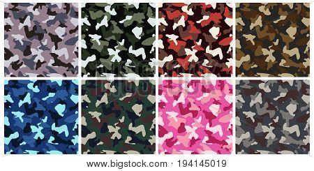 Camouflage clothing army seamless pattern. Set of military camo various color combination background. Vector illustration.