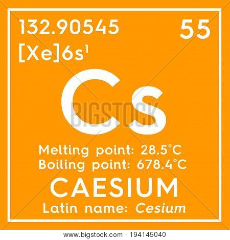 Caesium. Cesium. Alkali metals. Chemical Element of Mendeleev's Periodic Table. Caesium in square cube creative concept.