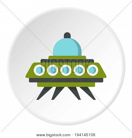 Alien spaceship icon in flat circle isolated vector illustration for web