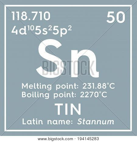 Tin. Stunnam. Post-transition metals. Chemical Element of Mendeleev's Periodic Table. Tin in square cube creative concept.