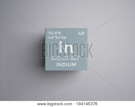 Indium. Post-transition metals. Chemical Element of Mendeleev's Periodic Table. Indium in square cube creative concept.