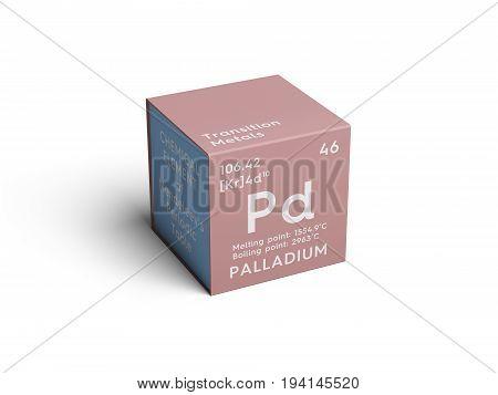 Palladium. Transition metals. Chemical Element of Mendeleev's Periodic Table. Palladium in square cube creative concept.