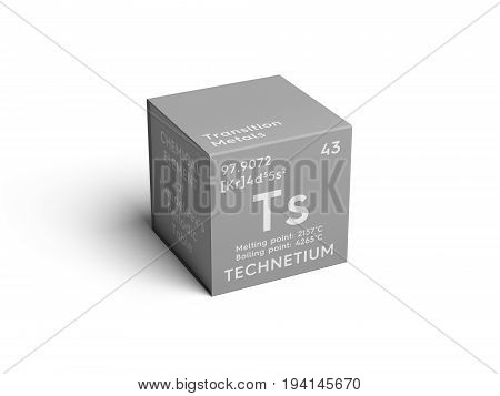 Technetium. Transition metals. Chemical Element of Mendeleev's Periodic Table. Technetium in square cube creative concept.