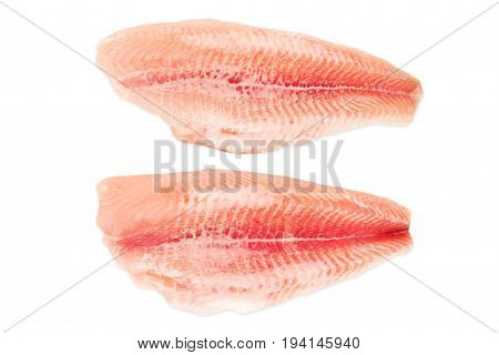 Frozen fish fillets isolated on white background