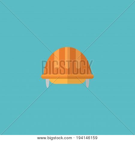 Flat Icon Helmet Element. Vector Illustration Of Flat Icon Hardhat Isolated On Clean Background. Can Be Used As Hardhat, Helmet And Headwear Symbols.