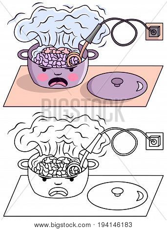 Boiling brain in a pan cartoon vector colored illustration sketch