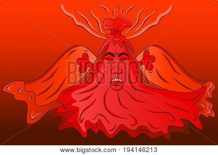 Erupting volcano cartoon vector colored illustration sketch