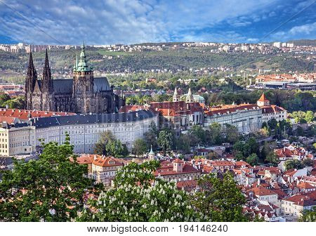 Prague Castle and Saint Vitus Cathedral, Czech Republic,. Panoramic view