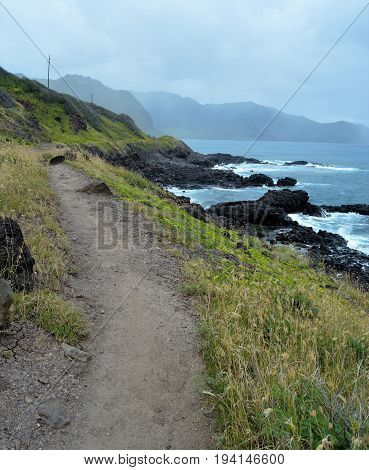 left side path along water Kaena Point Hawaii