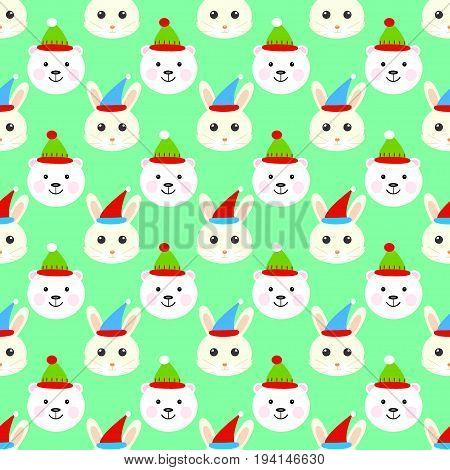 Bear hare cartoon christmas seamless pattern vector celebration, noel, teddy