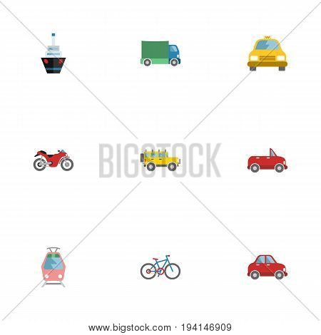 Flat Icons Lorry, Car, Streetcar And Other Vector Elements. Set Of Auto Flat Icons Symbols Also Includes Suv, Taxi, Automobile Objects.