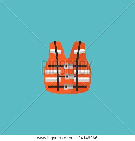 Flat Icon Life Vest Element. Vector Illustration Of Flat Icon Lifesaver Isolated On Clean Background. Can Be Used As Lifesaver, Life And Vest Symbols.