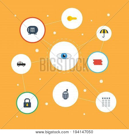 Flat Icons Parasol, Clue, Armored Car And Other Vector Elements. Set Of Procuring Flat Icons Symbols Also Includes Safe, Ratio, Closed Objects.