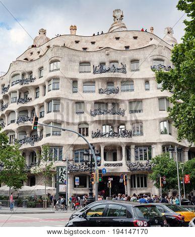 BARCELONA, SPAIN - MAY 2017: Architecture detail of Casa Mila - La Pedrera, designed by Antoni Gaudi