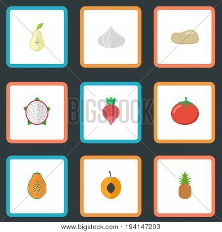 Flat Icons Onion, Pitaya, Nectarine And Other Vector Elements. Set Of Dessert Flat Icons Symbols Also Includes Duchess, Praties, Pitaya Objects.