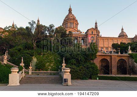 BARCELONA, SPAIN - MAY 2017: National Museum of Catalonia in Barcelona, Placa De Espanya, Spain.