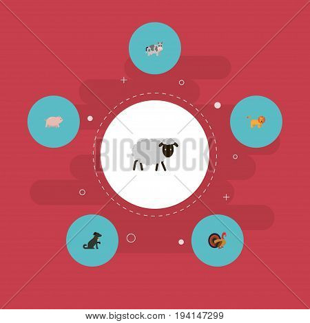 Flat Icons Kine, Mutton, Swine And Other Vector Elements. Set Of Alive Flat Icons Symbols Also Includes Forest, Turkey, Kine Objects.