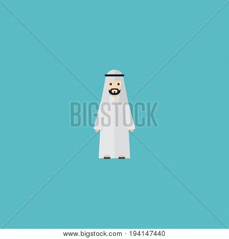 Flat Icon Muslim Male Element. Vector Illustration Of Flat Icon Arabian Isolated On Clean Background. Can Be Used As Arabian, Muslim And Male Symbols.