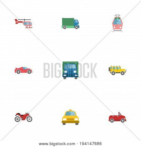 Flat Icons Cab, Motorbike, Streetcar And Other Vector Elements. Set Of Auto Flat Icons Symbols Also Includes Passenger, Motorbike, Helicopter Objects.