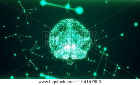 3D Rendering Illustration. Red The Human Brain On Dark Background. The Brain As A Hologram. The Grid