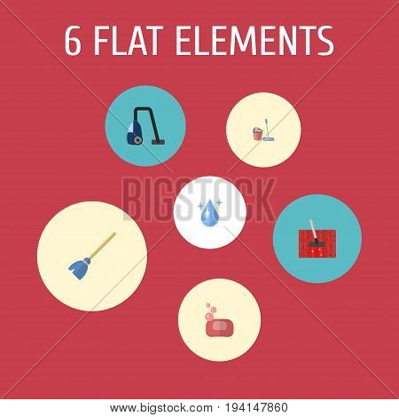 Flat Icons Sweeper, Besom, Mopping And Other Vector Elements. Set Of Hygiene Flat Icons Symbols Also Includes Soap, Vacuum, Drop Objects.