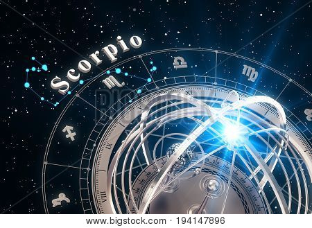 Zodiac Sign Scorpio And Armillary Sphere On Black Background. 3D Illustration.